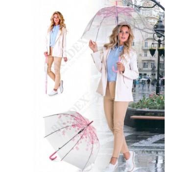 Зонт-трость «НЕЖНОСТЬ» (Umbrella transparent with light pink flowers)