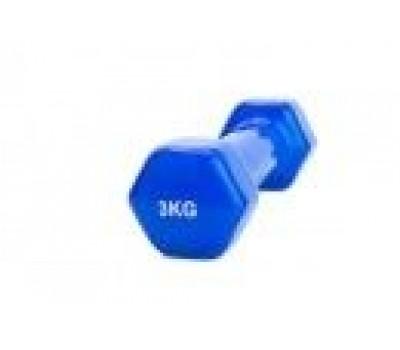Гантель обрезиненная 3 кг, синяя (rubber covered barbell 3 kg BLUE)