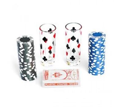"""Игра """"Пьяный покер"""", 2 рюмки, 60 фишек, колода карт, 30х15 см"""