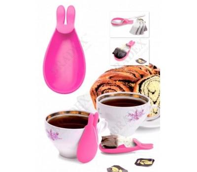 Держатель чайных пакетиков и ложки «КРОЛИК», розовый (rabbit design silicone tea bag hanger, pink)