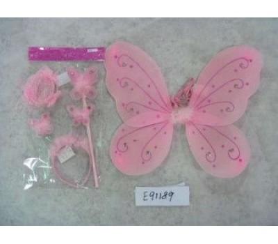 карнав. наб. крылья бабочки двойные, обод рожки бабочки и палочка-бабочка со стразами и браслет 33см