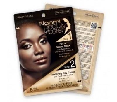 """Комплексный уход за лицом: маска с эффектом сауны, 7 мл. и дневной крем с коллагеном, 3 мл. """"NAOMI"""" (Facial Sauna Mask + Restoring Day Cream)"""