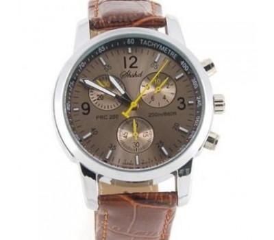 Модные кварцевые часы - коричневые