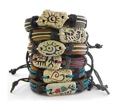 Браслет из кожи, плетёный, с украшением из керамики (кор 100 упак)