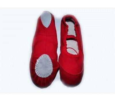 Балетки (ткань+кожа) , цвет - красный. Размер 38.