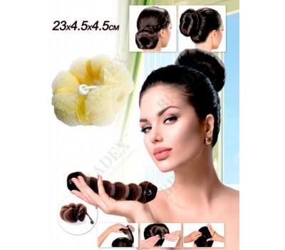 Валик для волос для создания прически «ПУЧОК» коричневый цвет, 23х4,5х4,5см (Hot Buns brown color big size)