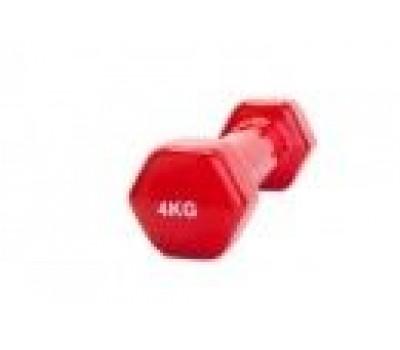 Гантель обрезиненная 4 кг, красная (rubber covered barbell 4 kg RED)