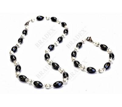 Комплект «ИНФИНИТИ» (Magnetic necklace and bracelet - elongate beads type)