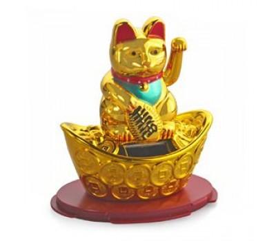 Манэко-кот, на солнечных батарейках, золотой, 11x10 см (кор 216 шт)