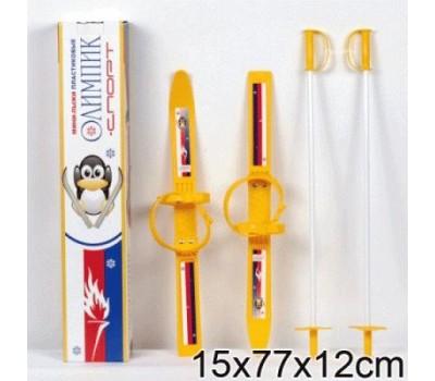 """Мини-лыжи """"Олимпик-спорт"""" (лыжи пластик+крепления+палки алюминий) Для детей от 3 до 6 лет. Крепление под 24-31 размер ноги."""