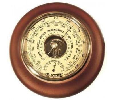 Барометр УТЕС БТК-СН-18 с термометром (корпус-дерево, диам.210 130мм, откр.механизм)