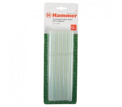 клеевые стержни Hammer 211-001, бесцветные, 11,2*200 мм, 12 шт