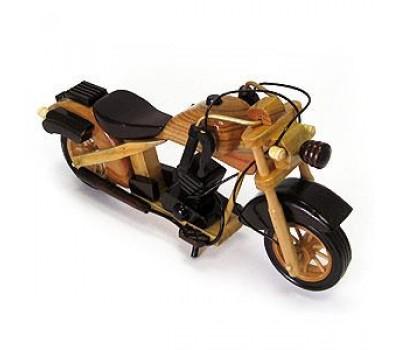 Модель мотоцикла, ручная работа, дерево, цвет - светло-коричневый, 24 см (кор 60 шт)