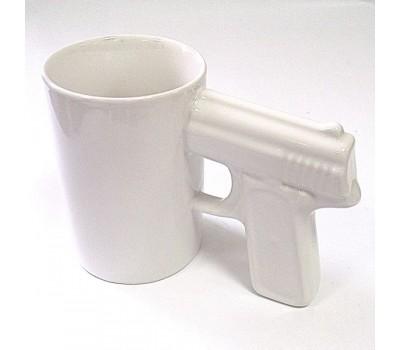 Кружка пистолет белая 7.5х10 см