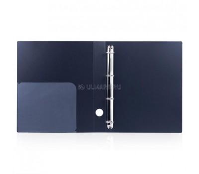 "[221349] папка на 4-х кольцах Brauberg ""Диагональ"", пластик, 40 мм, до 250 листов, пластик 0,9 мм, чёрная"
