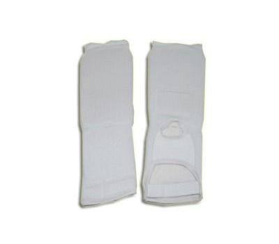 Защита ноги (для единоборств, от колена до пальцев, хлопок с эластиком , поролон, цвет белый, разм. S,M). QG0401