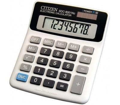 Калькулятор настольный Citizen SDC-8001N 8 разрядов серый/черный двойное питание наценка процент