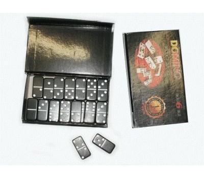 Домино в картонной коробочке. Кость чёрного цвета, размер 40х19 мм. 4010Н