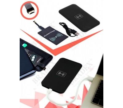 Аккумулятор беспроводной плоский для смартфонов с Micro USB разъемом, черный (Wireless portable accumulator (flat) Micro USB, black)
