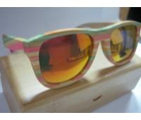 Солнцезащитные яркие очки Bewell с разноцветной оправой изготовленные из бамбука