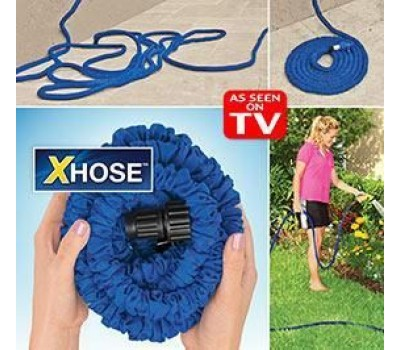 Водяной шланг Xhose (Икс-Хоз) увеличивающийся в 3 раза, длина 15 м. + насадка распылитель