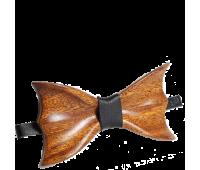 Бабочка из массива дерева с кожаным ремешком