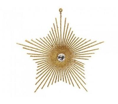 Ёлочное украшение СОЛНЕЧНАЯ ЗВЕЗДА, золотая, 15 см, KAEMINGK