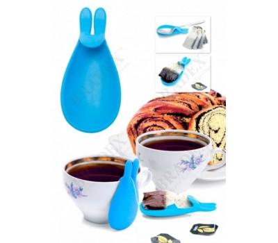 Держатель чайных пакетиков и ложки «КРОЛИК», голубой (rabbit design silicone tea bag hanger, blue)